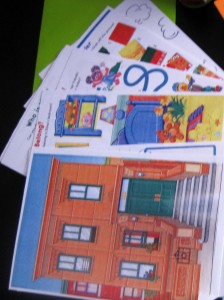 Activity sheets were from a Sesame Street activity and colouring book.