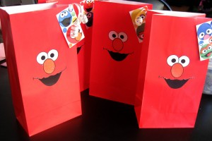 Elmo loot bags.