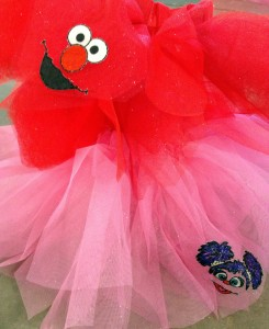 The no-sew tutus in Elmo and Abby Cadabby for the girls to wear at the party.