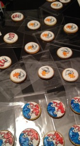 10 of each cookie, ready to package. Allow drying time so that they don't smudge or stick to the packet.