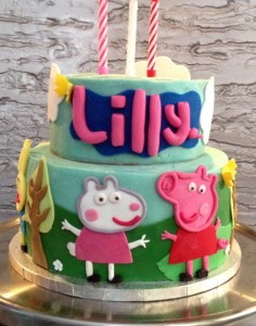 Lilly's name was made to be similar to the Peppa Pig logo. 3D butterflies were also added in places to add some dimension.