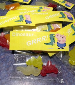 Dinosaur lollies for the loot bags