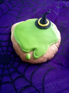 Melted witches...Fondant hats and royal icing for the green puddle.