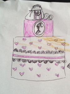 The brown was to show it was a choc-mud cake, then after explaining we were looking at the outside, it quickly turned to pink. I drew while she designed, then Lil'Miss coloured it in.